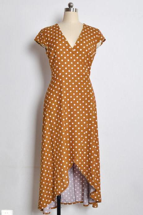Women Asymmetrical Polka Dot Dress V Neck Short Sleeve Casual Summer Beach Boho Long Party Dress yellow