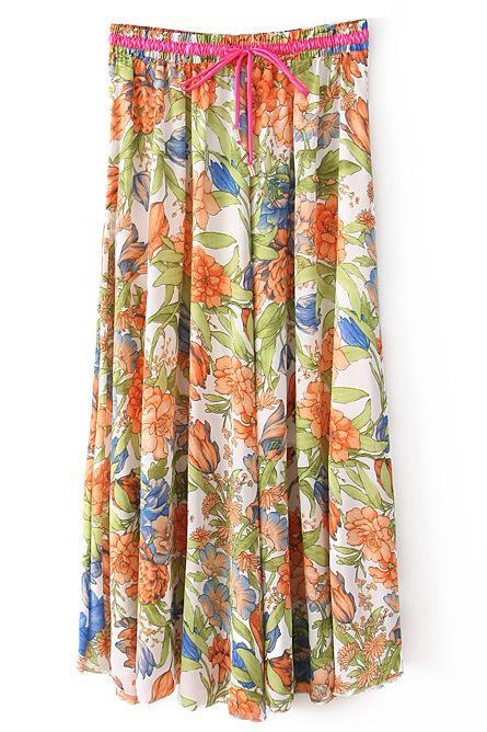 Boho Floral Print Maxi Skirt Summer Beach Women High Waist Casual Long Bohemian Skirt 2#