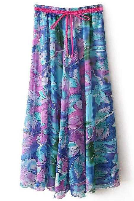 Boho Floral Print Maxi Skirt Summer Beach Women High Waist Casual Long Bohemian Skirt 3#