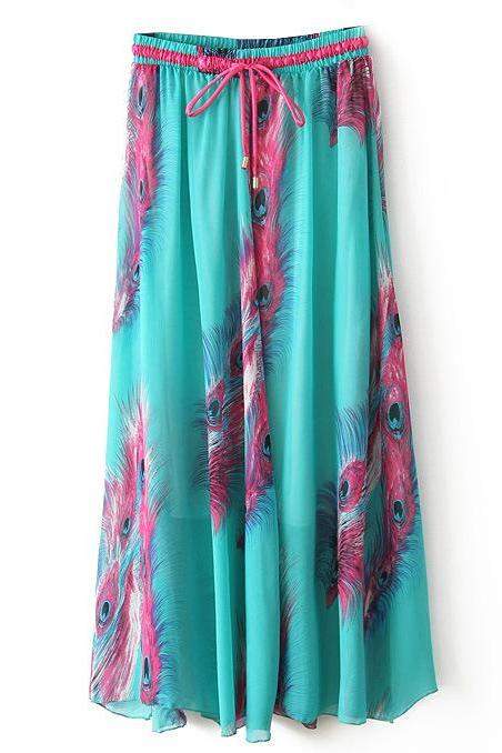 Boho Floral Print Maxi Skirt Summer Beach Women High Waist Casual Long Bohemian Skirt 10#
