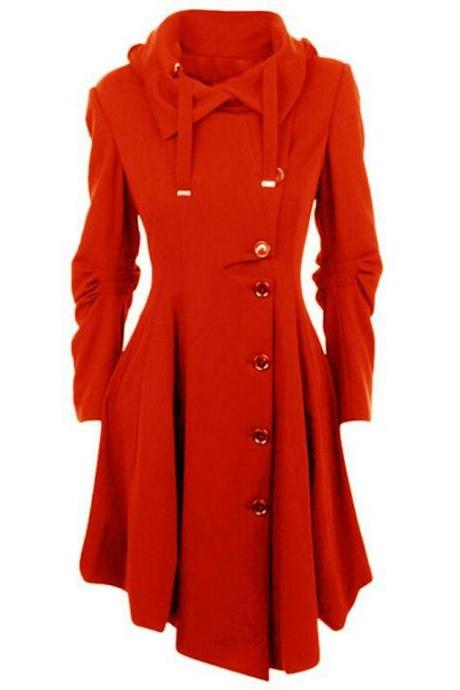 Women Asymmetric Woolen Coat Long Sleeve Turn-down Collar Single Breasted Slim Fall Winter Jacket Overcoat red