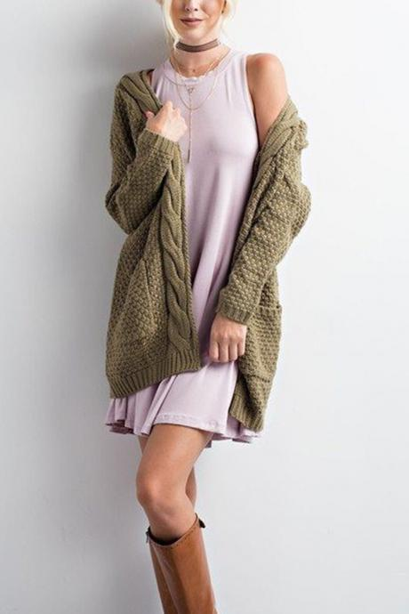 Women Long Knitted Cardigan Long Sleeve Pockets Sweater Autumn Loose Open Stitch Coat army green