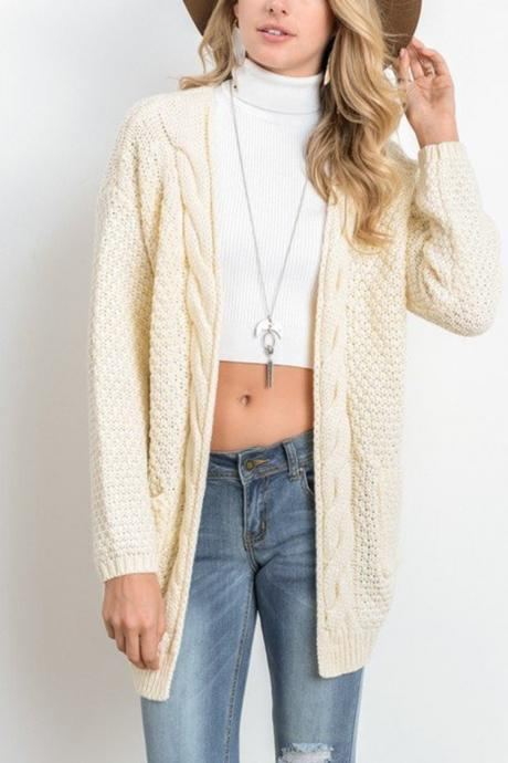 Women Long Knitted Cardigan Long Sleeve Pockets Sweater Autumn Loose Open Stitch Coat cream