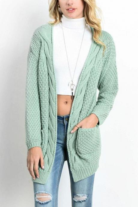 Women Long Knitted Cardigan Long Sleeve Pockets Sweater Autumn Loose Open Stitch Coat pea green