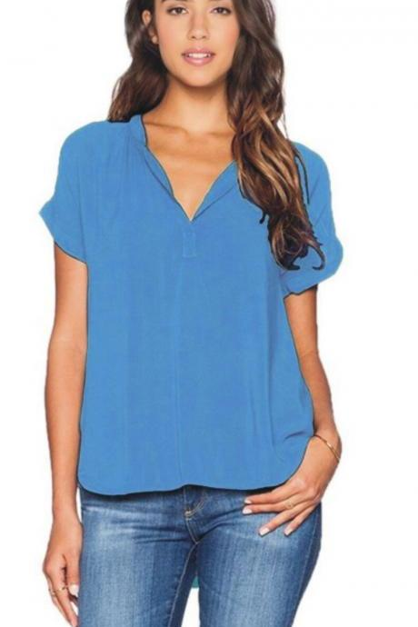 Women Asymmetrical T Shirt Plus Size Short Sleeve V Neck Solid Summer Casual Loose Tops blue