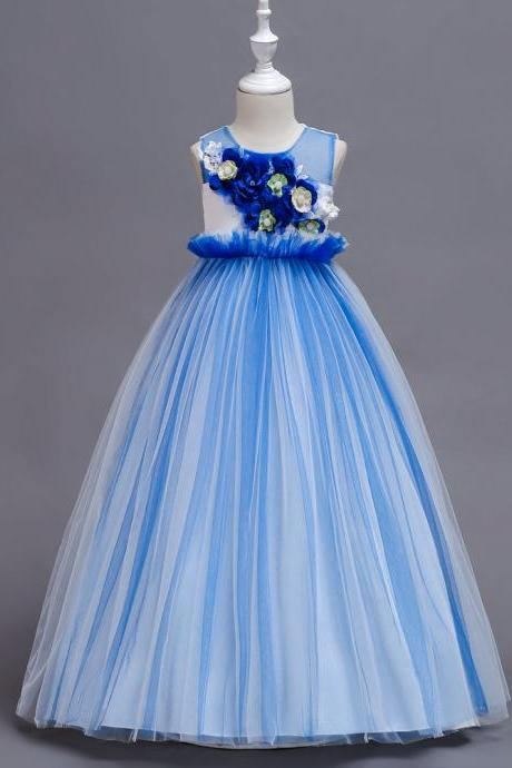 Princess Long Flower Girl Dress Sleeveless Teens Wedding Ceremony Party Gowns Children Clothes blue