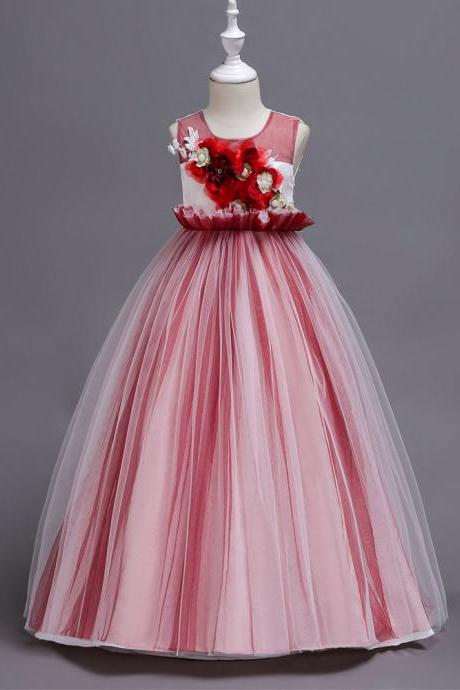 Princess Long Flower Girl Dress Sleeveless Teens Wedding Ceremony Party Gowns Children Clothes red