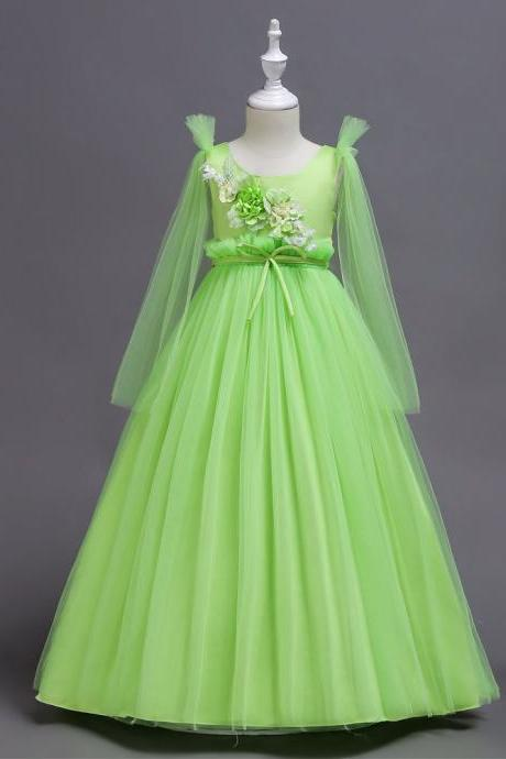 Princess Long Flower Girl Dress Teens Wedding Birthday Ceremony Party Gowns Children Clothes light green