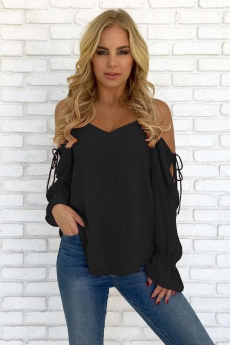 Women Chiffon Blouses Off Shoulder Long Sleeve Lace up Summer Casual Loose Tops Shirts black
