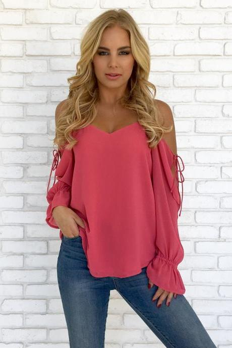 Women Chiffon Blouses Off Shoulder Long Sleeve Lace up Summer Casual Loose Tops Shirts watermelon red