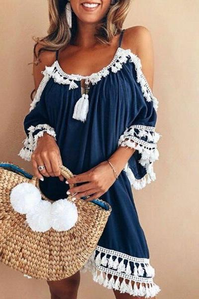 Boho Dress Spaghetti Strap 3/4 Sleeve Plus Size Summer Beach Loose Casual Tassel Women Mini Dress blue