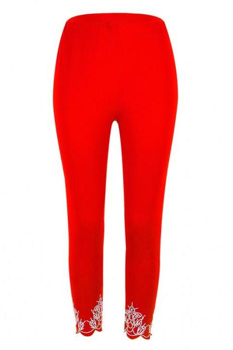 Women Leggings Floral Lace Hollow Out Slim Skinny Casual Plus Size Pencil Pants red