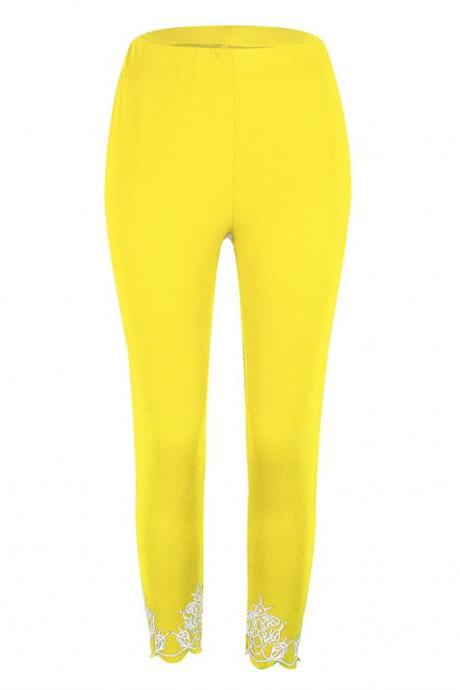 Women Leggings Floral Lace Hollow Out Slim Skinny Casual Plus Size Pencil Pants yellow