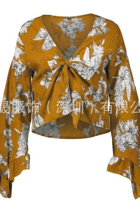 Women Floral Printed Crop Tops Ruffle V Neck Flare Long Sleeve Bow Tie Summer Beach Blouses yellow