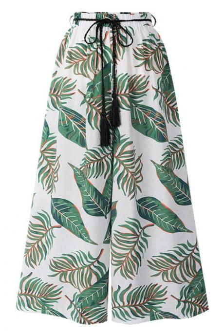 Women Floral Leaf Print Wide Leg Pants Belted High Waist Summer Beach Loose Casual Trousers 1#