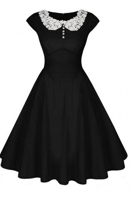 Women Casual Dress Vintage 50 60s Pinup Short Sleeve Work Office Swing A Line Party Dress black