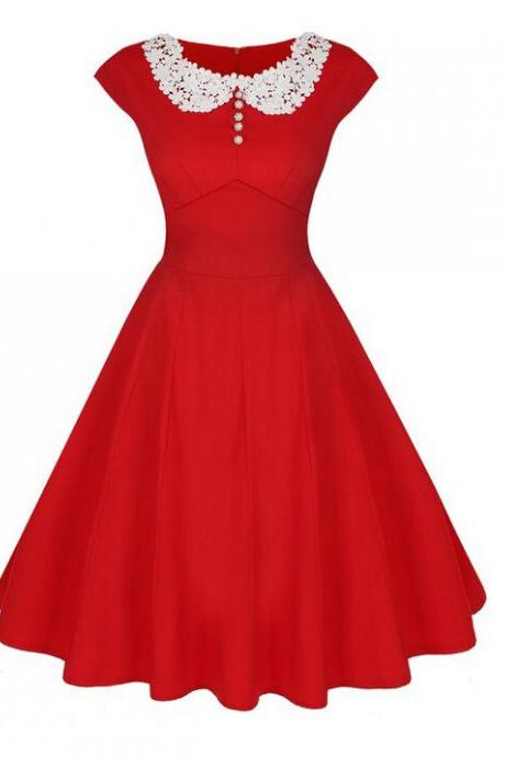 Women Casual Dress Vintage 50 60s Pinup Short Sleeve Work Office Swing A Line Party Dress red