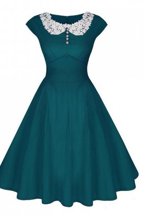 Women Casual Dress Vintage 50 60s Pinup Short Sleeve Work Office Swing A Line Party Dress teal