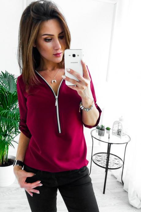 Women Blouses V Neck Zipper Long Sleeve Solid Summer Casual Loose Tops Shirt wine red