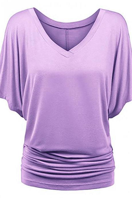 Women T Shirt V Neck Batwing Half Sleeve Oversized Summer Casual Loose Plus Size Tops lilac