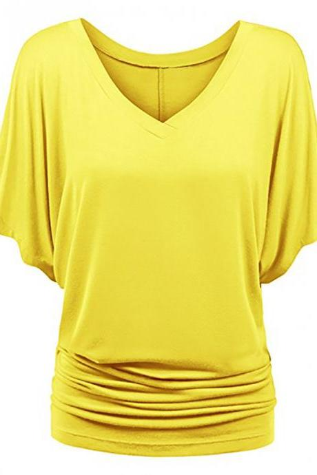 Women T Shirt V Neck Batwing Half Sleeve Oversized Summer Casual Loose Plus Size Tops yellow