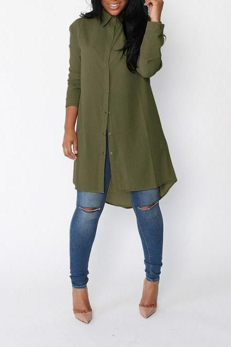 Women Chiffon Blouse Plus Size Solid Loose Casual Long Sleeve Asymmetrical Tops Shirt army green