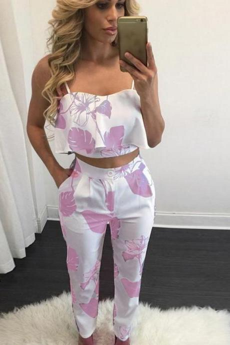 Two Piece Set Women Floral Printed Crop Top+Long Pants Casual Summer Party Club Outfits deep pink