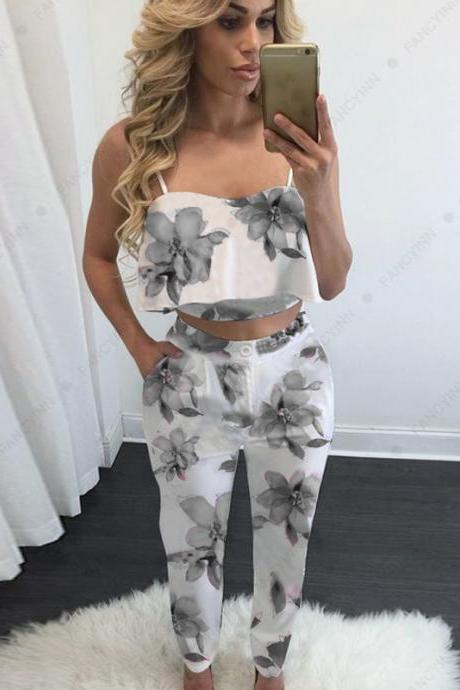 Two Piece Set Women Floral Printed Crop Top+Long Pants Casual Summer Party Club Outfits gray