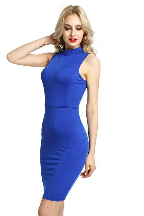 Women Pencil Dress Open Back High Neck Sleeveless Casual Bodycon Short Club Party Dress royal blue
