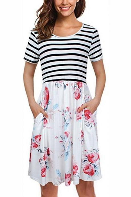Women Floral Printed Casual Dress Short Sleeve Striped Patchwork Pocket Summer Beach Boho Dress off white 2#