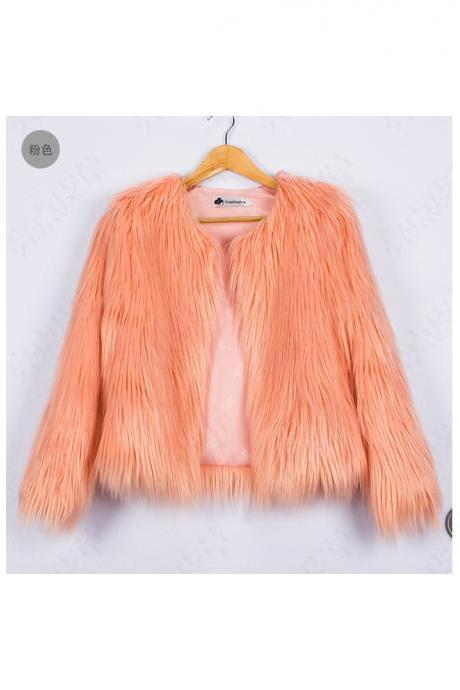 Plus Size 4XL Women Fluffy Faux Fur Coats Long Sleeve Winter Warm Jackets Female Outerwear salmon