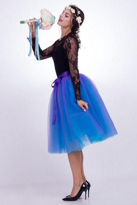 6 Layers Multi Color Tulle Midi Skirt Women Fashion Adult Tutu Skirts Mesh Bridesmaid Wedding Party Skirt purple+blue