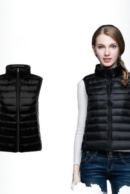 Women Sleeveless Waistcoat Winter Ultra Light Duck Down Vest Female Slim Jacket Packable Warm Coat black