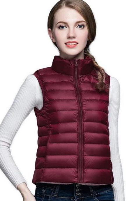 Women Sleeveless Waistcoat Winter Ultra Light Duck Down Vest Female Slim Jacket Packable Warm Coat burgundy
