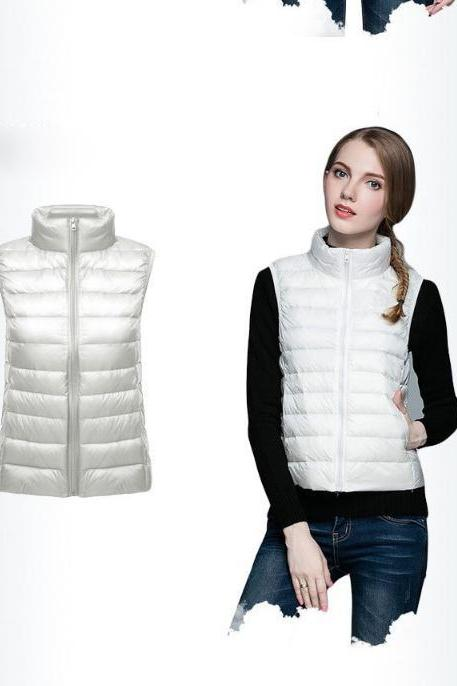 Women Sleeveless Waistcoat Winter Ultra Light Duck Down Vest Female Slim Jacket Packable Warm Coat off white