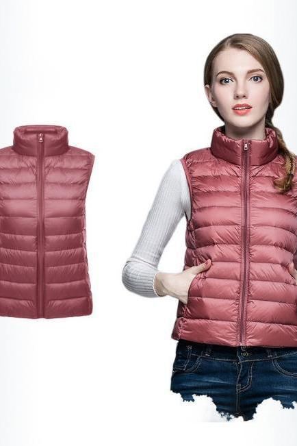 Women Sleeveless Waistcoat Winter Ultra Light Duck Down Vest Female Slim Jacket Packable Warm Coat old pink