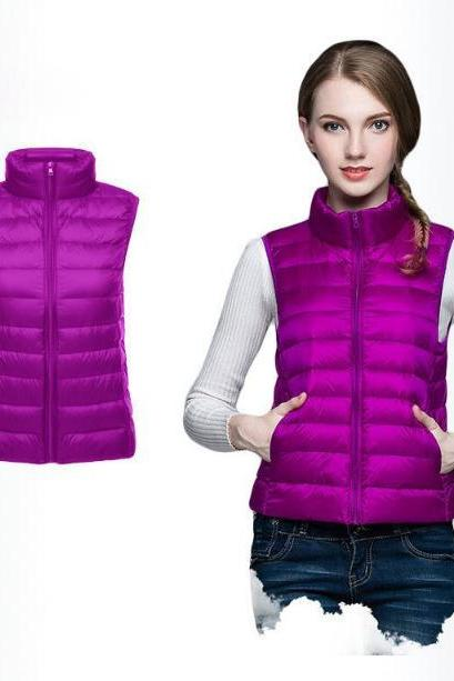 Women Sleeveless Waistcoat Winter Ultra Light Duck Down Vest Female Slim Jacket Packable Warm Coat purple