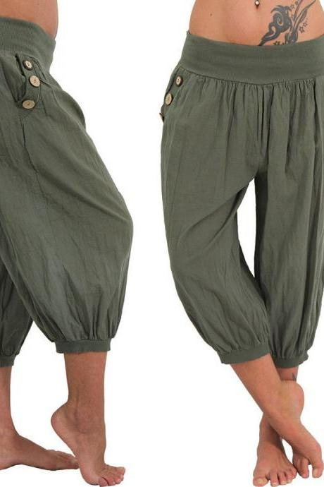 Women Aladdin Harem Pants Elastic Waist Plus Size Calf-Length Sportwear Workout Summer Casual Loose Capri Trousers army green