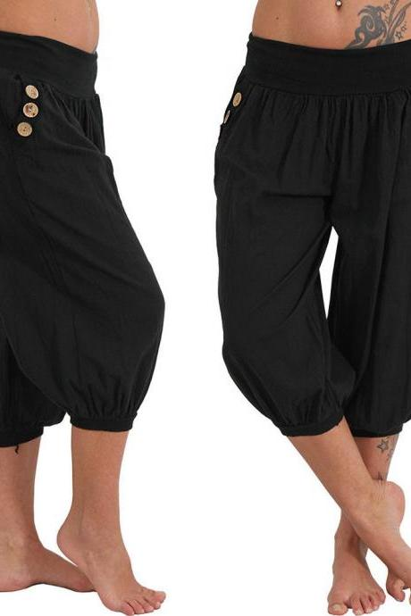 Women Aladdin Harem Pants Elastic Waist Plus Size Calf-Length Sportwear Workout Summer Casual Loose Capri Trousers black