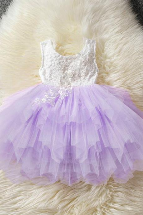 Baby Girl Tulle Dress Princess Cake Tutu Layered Sleeveless Lace Wedding Party Flower Girl Dress lilac