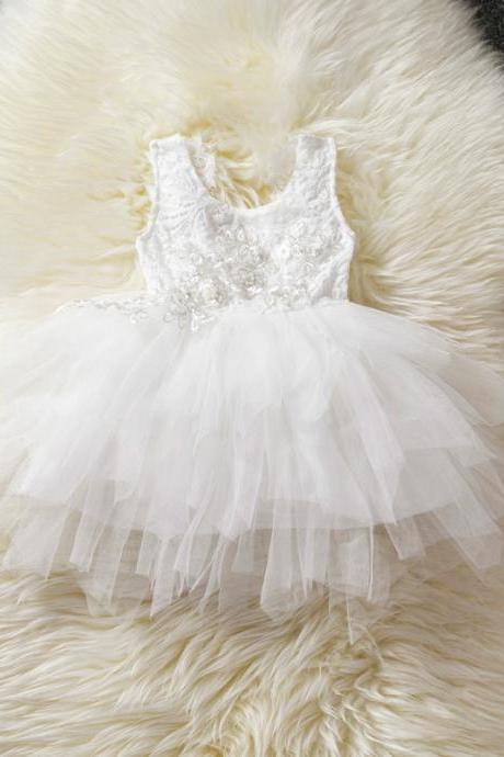 Baby Girl Tulle Dress Princess Cake Tutu Layered Sleeveless Lace Wedding Party Flower Girl Dress off white