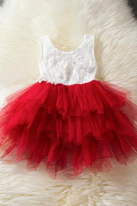 Baby Girl Tulle Dress Princess Cake Tutu Layered Sleeveless Lace Wedding Party Flower Girl Dress red