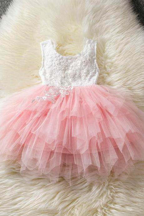 Baby Girl Tulle Dress Princess Cake Tutu Layered Sleeveless Lace Wedding Party Flower Girl Dress pink