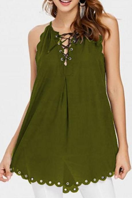 Women Bandage Tank Tops Summer Casual Lace Up Loose Plus Size Sleeveless T Shirt army green