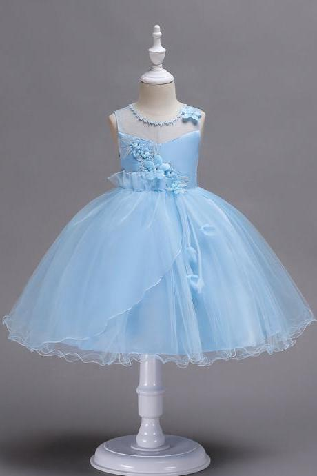 Princess Flower Girls Dress Sleeveless Lace Wedding Birthday Party Tutu Gowns Children Clothes light blue