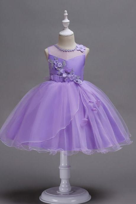 Princess Flower Girls Dress Sleeveless Lace Wedding Birthday Party Tutu Gowns Children Clothes lilac