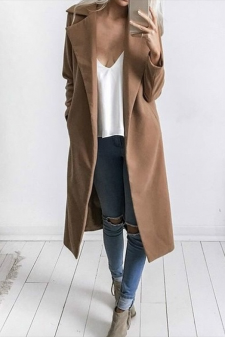 Autumn Winter Women Woolen Long Coat Long Sleeve Pockets Slim Casual Jackets Overcoat camel