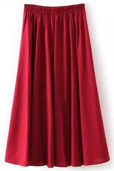 Women Midi Skirt Elastic High Waist Summer Below Knee Casual A Line Skater Skirt crimson