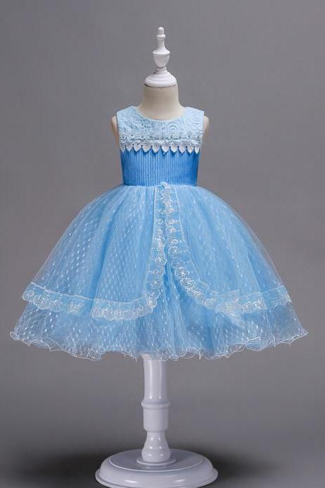 Lace Flower Girl Dress Sleeveless Princess Wedding Birthday Party Gown Children Clothes light blue