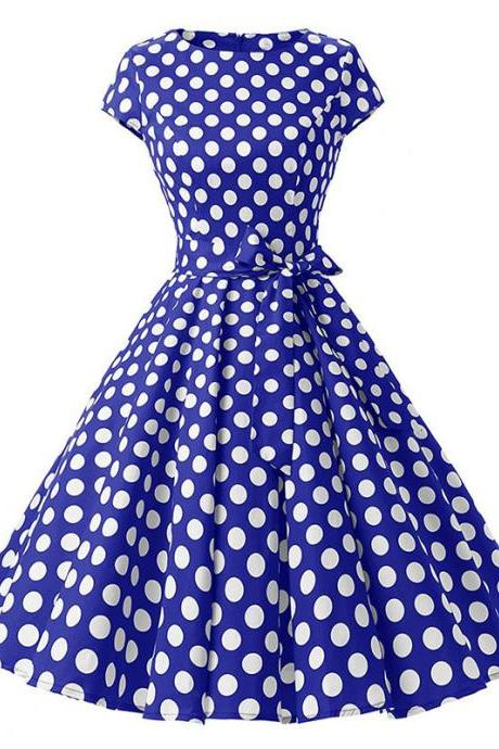 Vintage Polka Dot Dress Women Summer Short Sleeve Belted Rockabilly Casual Party Dress blue (big dot)